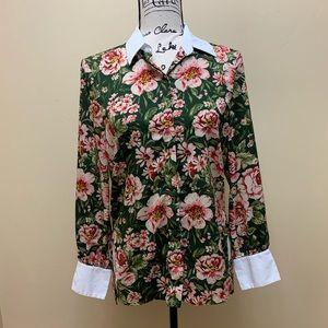 Zara Floral Print Button Down Blouse size XS